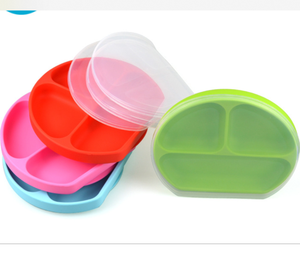 2019 Hot Sale Best Silicone Suction Plate with Lid Stay Put Divided Baby Feeding Bowls and Dishes Kids divided dinner plates