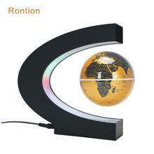 C shape Magnetic levitation floating globe with light rotating world map US EU AU UK home decoration