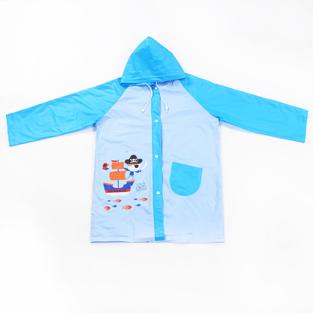 PVC transparent rain poncho cartoon waterproof reusable plastic child raincoats with hood and sleeves children rainwear factory