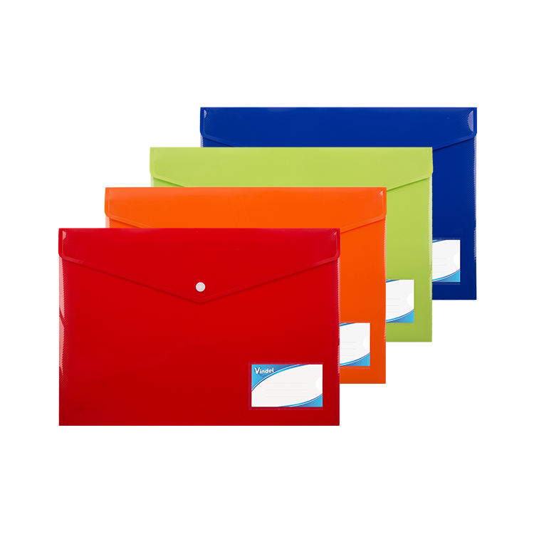 A4 Opaque Plastic Document Wallet with Button Closure
