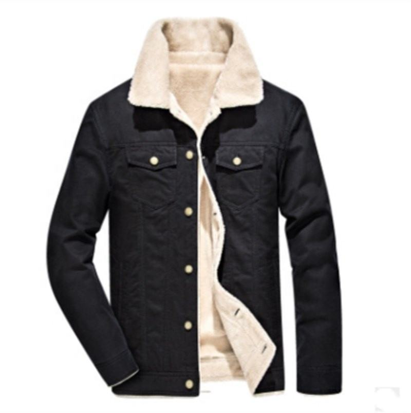 Ready to ship Mens cotton Winter fleeced warm jacket garment washed