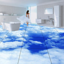 Walking above blue sky customize sky and cloud 3d floor mural stickers star large size pvc fish sea murals