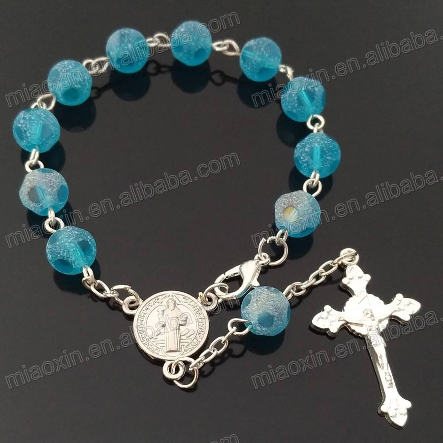 religious bracelet, fashion catholic handmade crystal bead cord cross rosary bracelet
