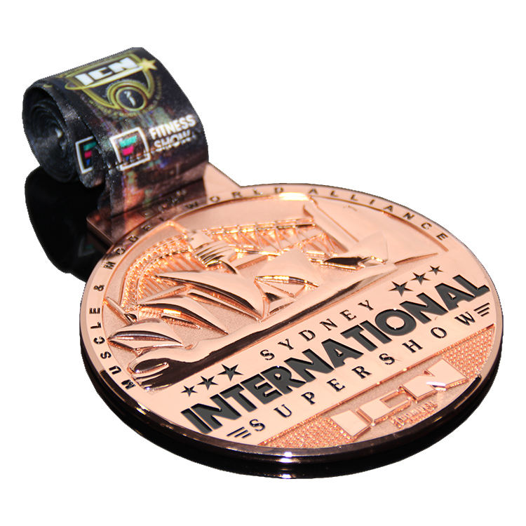 International Competition Honor Award Sydney Souvenir Ribbons Lanyard Copper Plated Round Metal Sublimation Medal