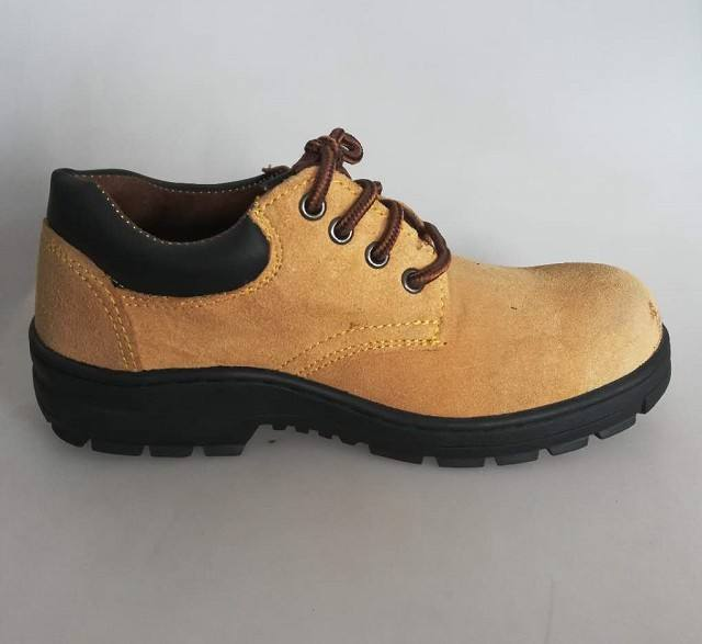Low cut cheap camel suede leather rubber outsole safety shoes for workers