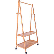 Wholesale supply solid wood bamboo coat rack floor hanger multi-standard wheeled removable hanger