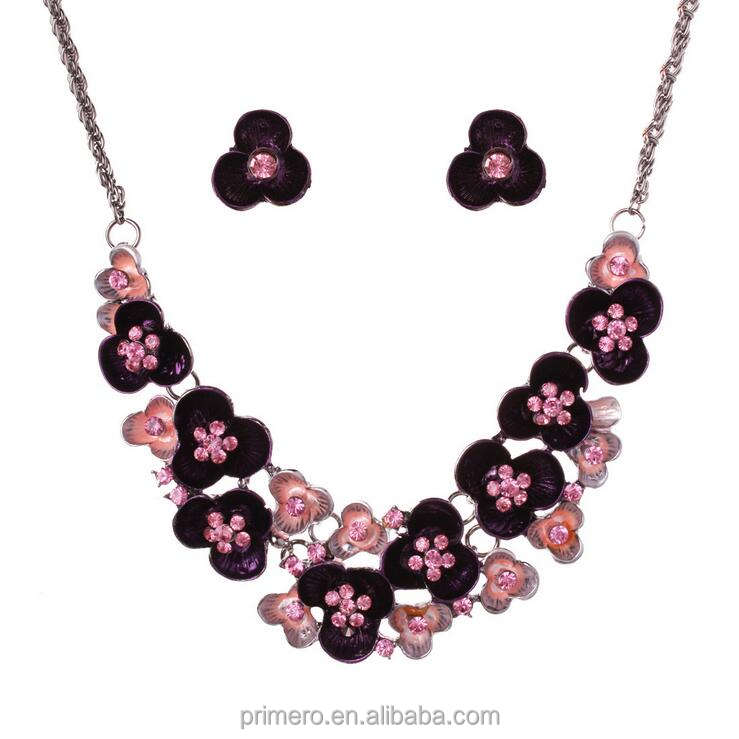 PRIMERO High quality Austrian Crystal Enamel Flower Ethiopian Jewelry Sets Fashion African Necklace and Earring Set for Women