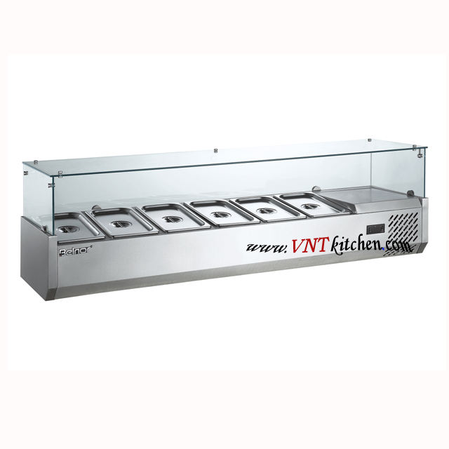 counter top salad bar stainless steel static cooling refrigerated toppings bar