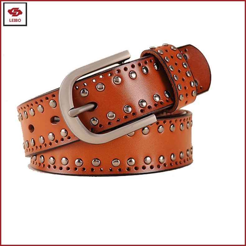 unisex holes split leather jeans belt men rivet studded cowhide leather belt women genuine leather rivets belt