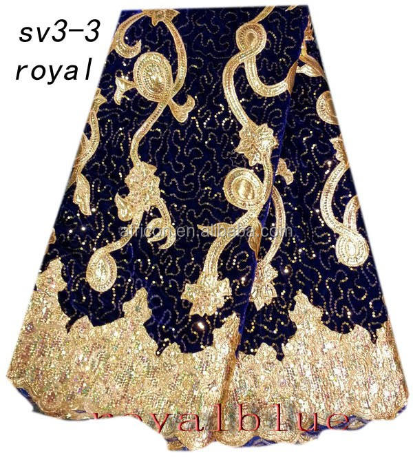 SV3-3 royal african velvet lace fabric with sequins and leather