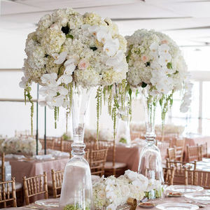 white silk flower centerpieces for wedding table decoration