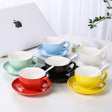 Fine Porcelain Colorful Tea Cup Set Hotel Restaurant Ceramic Coffee Cup And Saucer