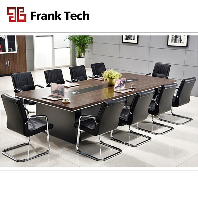 Modern luxury big boardroom rectangular 10 person conference table for 5m