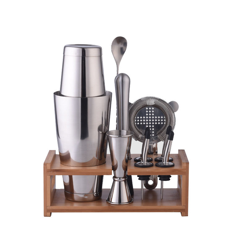 wholesale stainless steel bar accessories set with wooden stand custom logo barware set