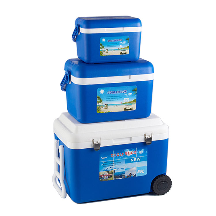 8L 20L 50L EPS Foam Plastic Picnic Ice Box Set Portable Food Beer Cans Cooler Box With Wheel