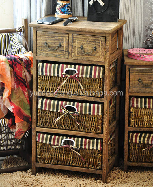 Factory outlet living room used soild wood storage cabinet bedroom used cabinet with corn husk baskets