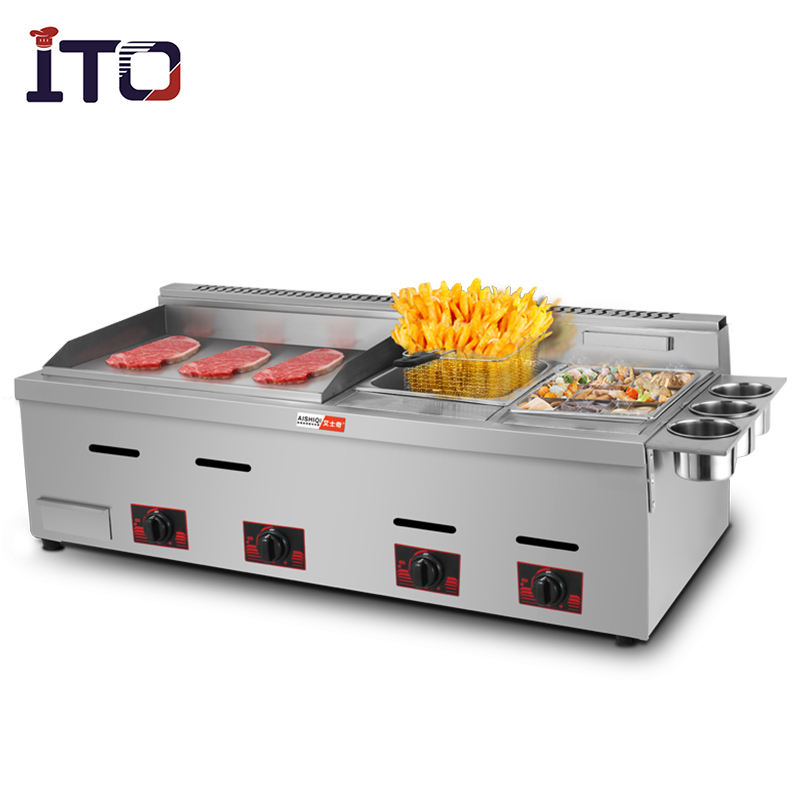 Multi-Function Deluxe Combi-ovens gas griddle with deep fryers