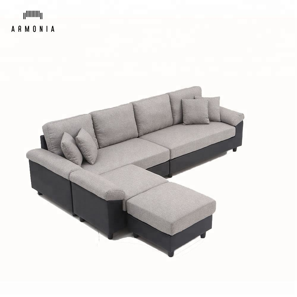 solid wooden frame 7 seater l shaped sofa sets sectionals gray fabric living room furniture modern stylish new trend large