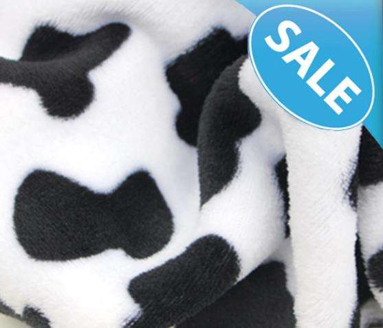 Wholesale custom high quality polyester cow design print fleece fabric