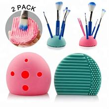 Half egg shape silicone makeup brush holder and silicone makeup brush cleaning mat