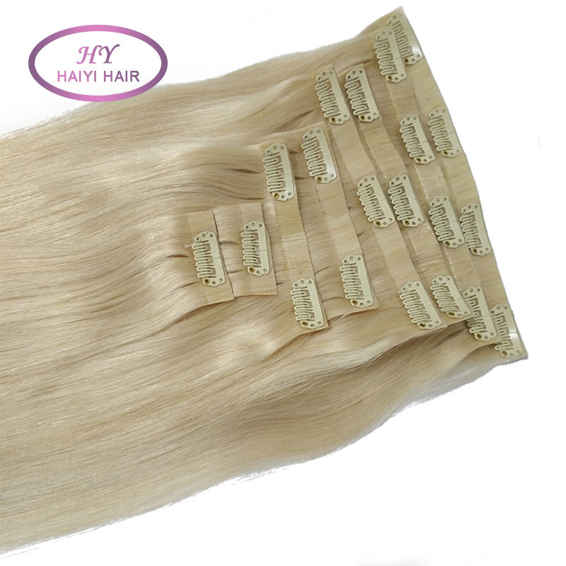 best selling human hair weave pu skin clip hair extensions 100% remy Indian clip in