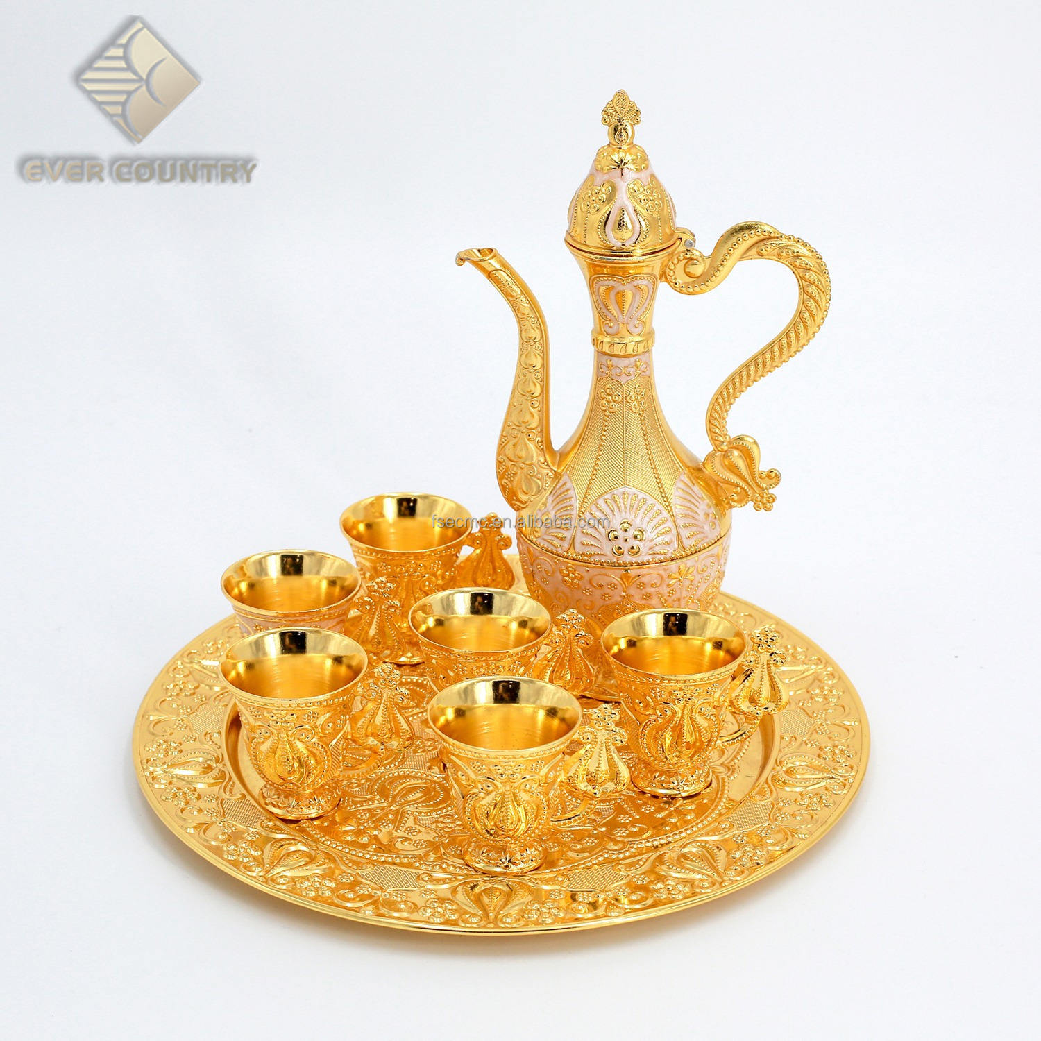 Tulip Design Gold Plated Metal Muslim Zam Zam Set