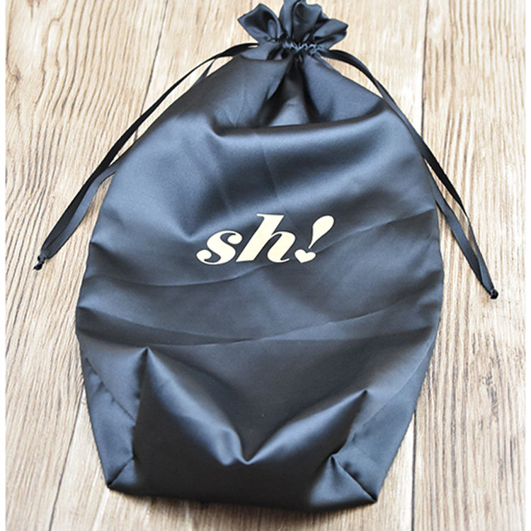 China Custom Logo Wholesale Large Drawstring Silk Satin Dust Bag For Hair Extension