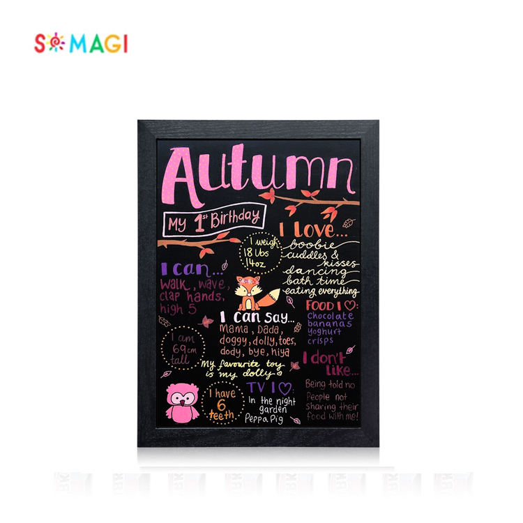 "Hot sale Blackboard Frame tableau ardoise black white side 16 ""x 12"" blackboard chalkboard with Wood"