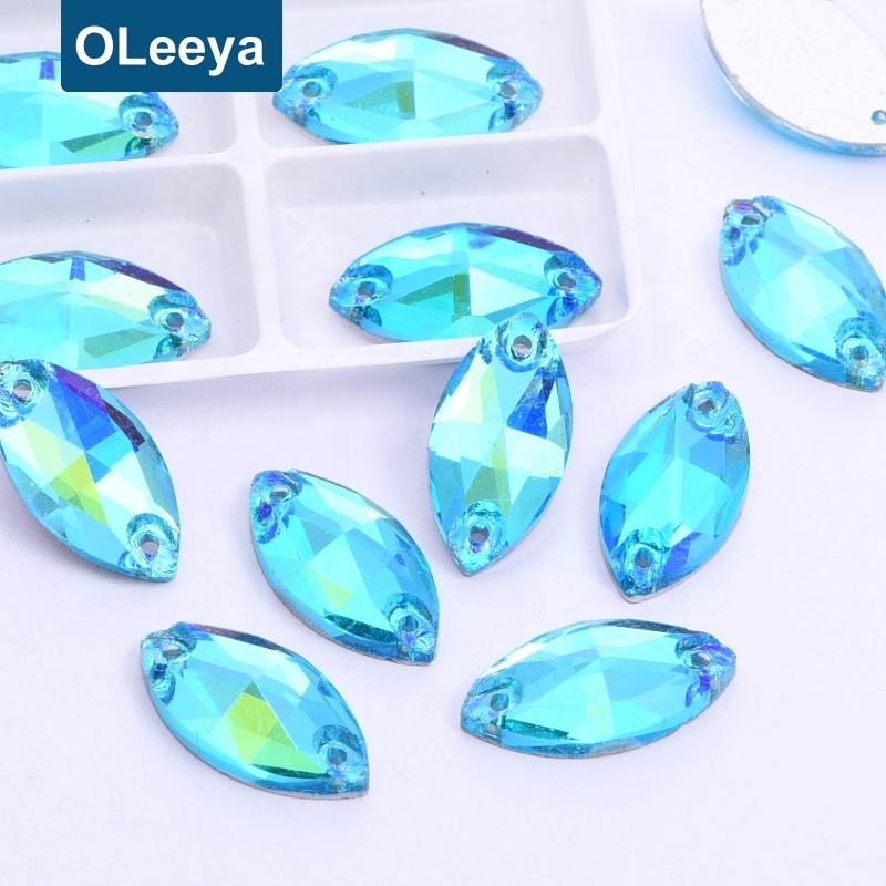 Crystal Aquamarine AB Navette Flat Back Glass Sewing Jewelry Making Rhinestone Sew on Clothing for Women Dresses