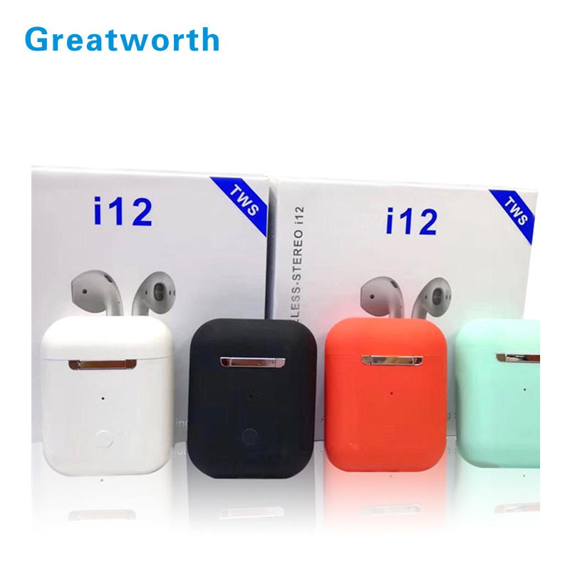 Fast delivery colorful i12 TWS wireless earbuds I12 newest version no noise true stereo earbuds TWS I12 with charging box
