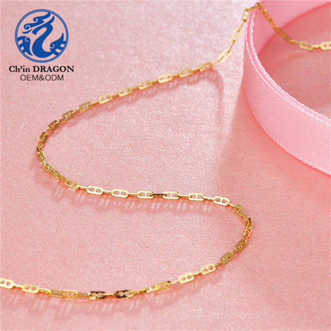 Women Girl 18 K Pure Gold Necklace Chain, 18 K Real Gold Solid Chain 18 k