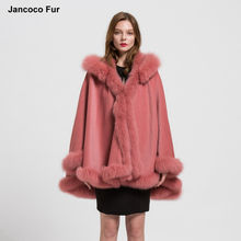 Durability Fur Poncho Genuine Fox Fur Collar Trim & Wool Cape Women Detachable Hooded Winter Classic Shawls Coat