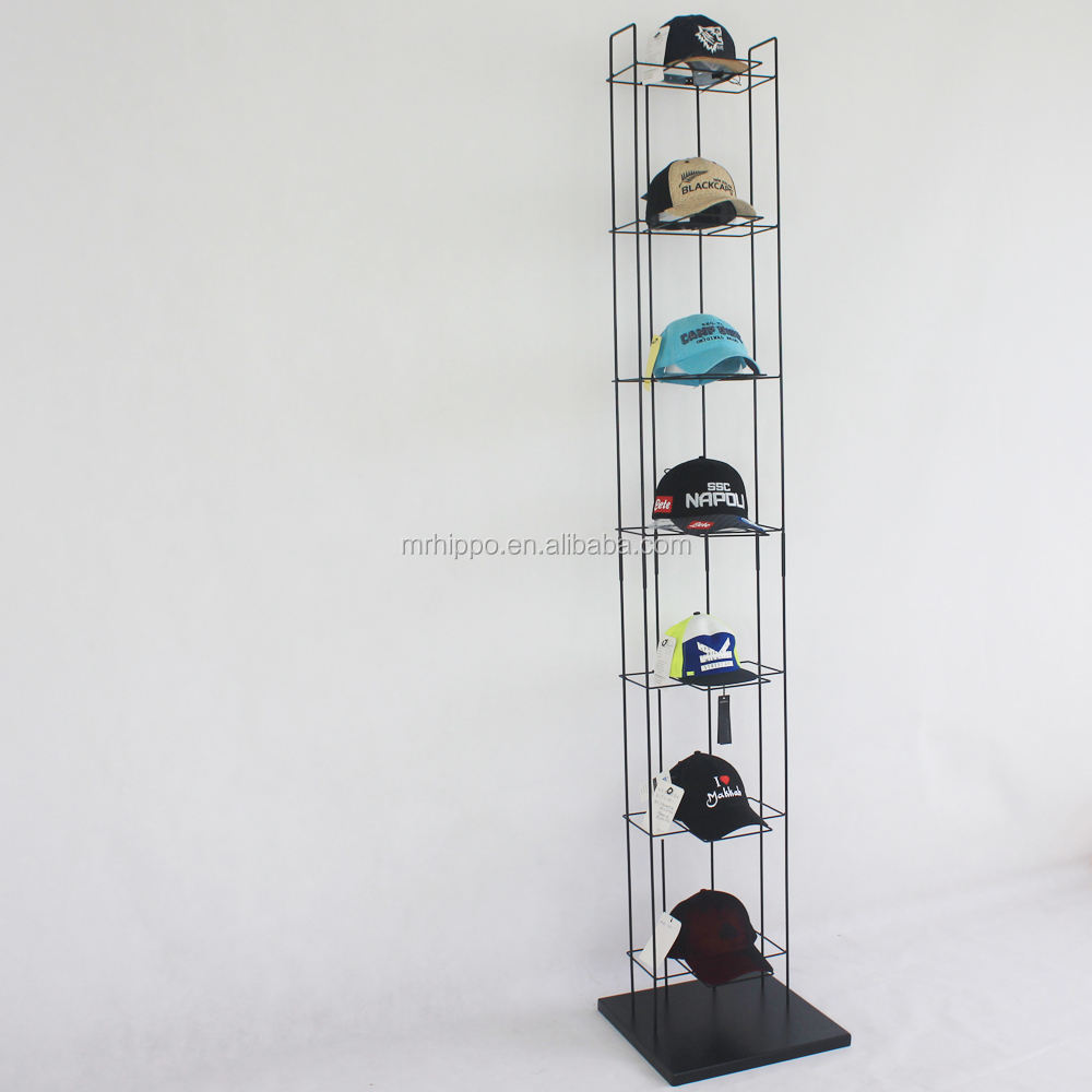 Baseball cap display rack en plank/hoed stand display voor winkel/floor hoed display stand