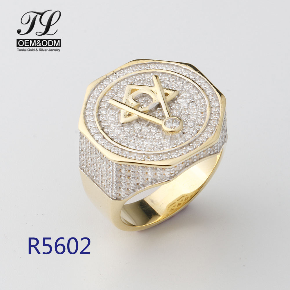Wholesale 18K Gold Plated Micro Pave Diamond Custom Hiphop Jewelry Men Ring Golden Masonic Standard Religion Rings