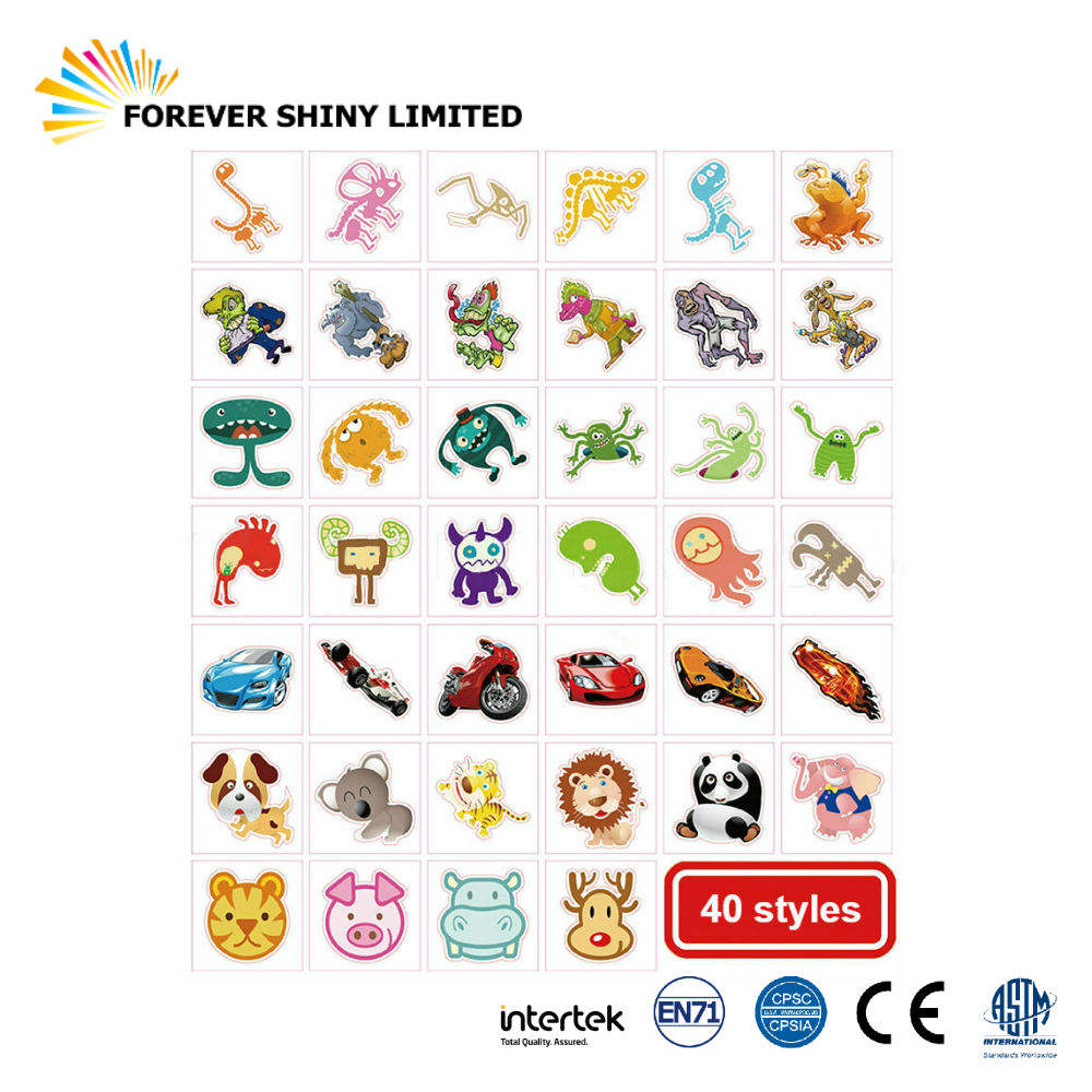 OEM ODM Bulk Art Capsules Toys Water Transfer Sticker Adhesive Paper Temporary Tattoo for Vending Machines