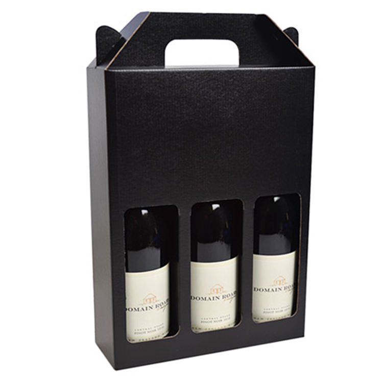 corrugated cardboard packaging 2 or 3 pack bottle beer wine carrier gable handle gift box