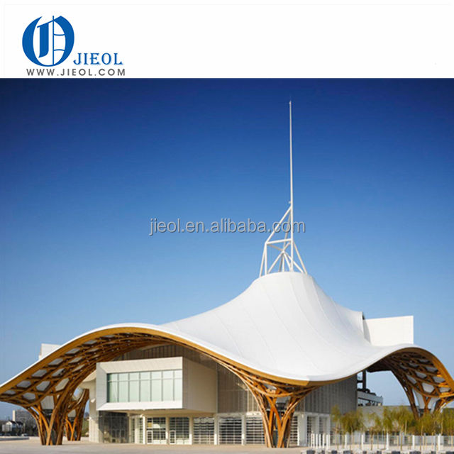 High quality shopping mall PTFE, PVDF tensile membrane roof