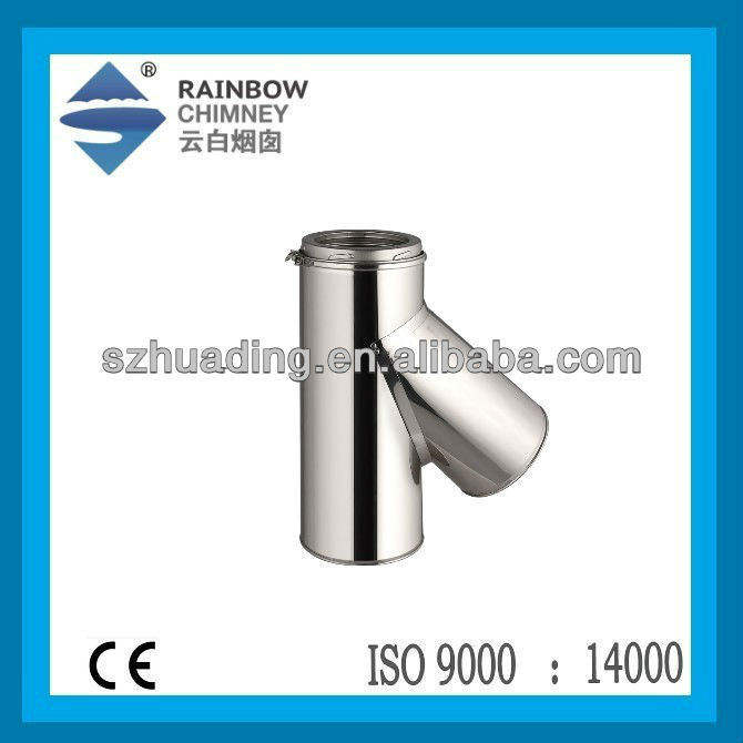 CE Double Wall Twist Lock Stainless Steel 135 Degree Chimney Tee Fitting Pipe