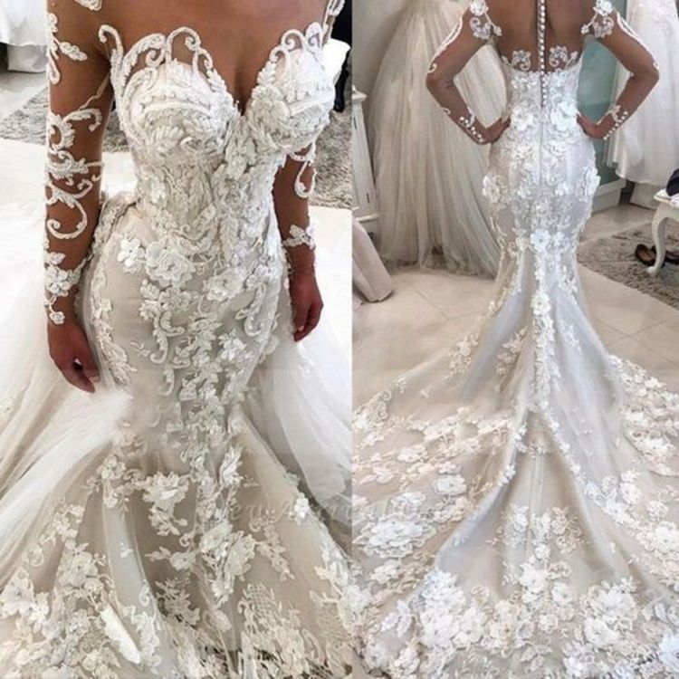 #6642 Lace Long Sleeve Illusion Luxury Beaded Mermaid Modern African Wedding Dresses Wedding Gowns 2020 With Detachable Train