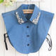 JL0082A High Quality Blue Color DenimFake Shirt Collar with Rhinestone Lapel Fake Detachable Shirt Collar Women