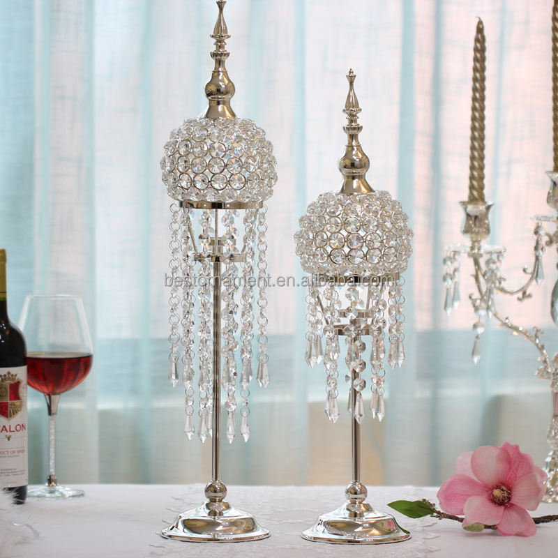 Crystal ball Silver Wedding Decorative Candle Holder For Home Party Bar Wedding Room Romantic Decor