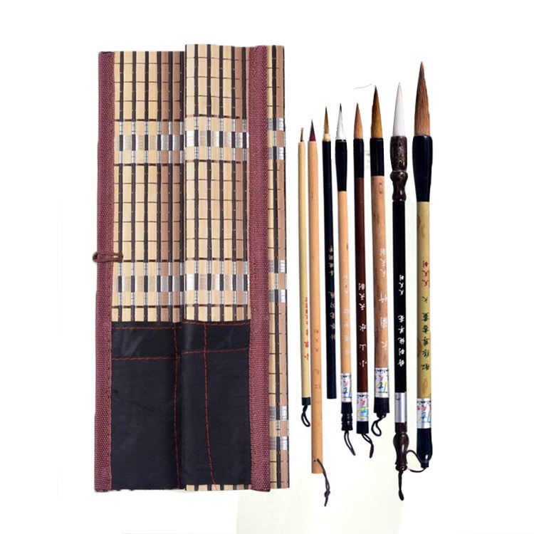 Tianjintang Vintage Chinese Professional Calligraphy Writing Ink Painting Langhao Brush Set in Wooden Box for Learners Pack of 3 pcs