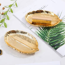 golden leaf shape trinket dish for Ceramic key Jewelry Plate