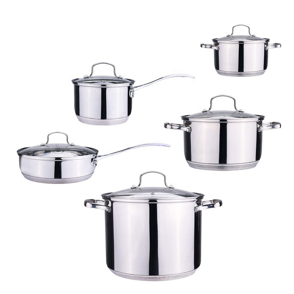 201 10Pcs G Shape Glass Cover Stainless Steel Casserole Cookware Set