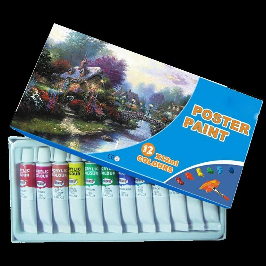 Hot selling 12 color water paint for kids student drawing on canvas paper