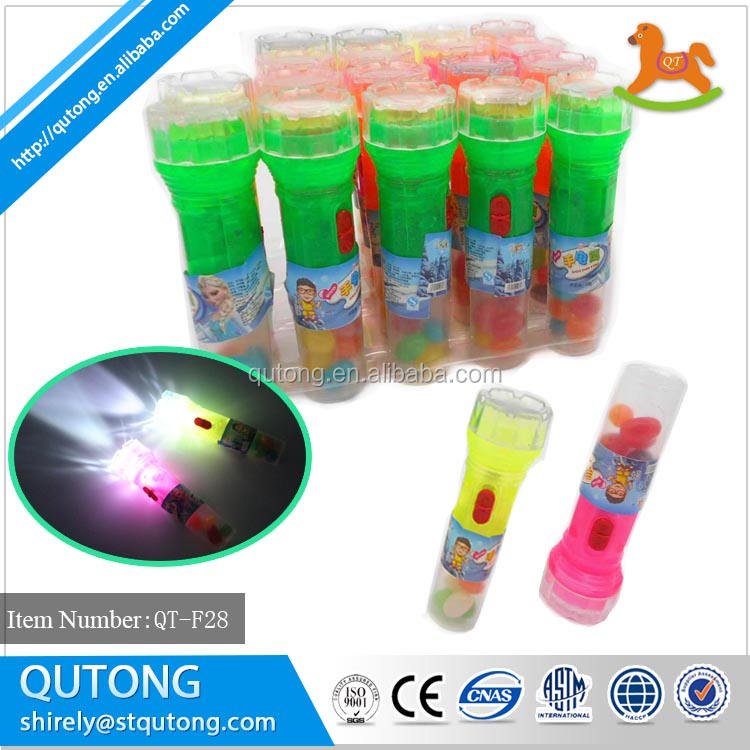 Promotional Big Flashlight Lighting Toy Candy with jelly bean