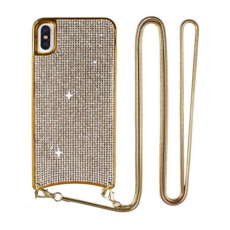 Luxury Bling Diamond Crossbody Cell Phone Case With Necklace For Iphone X Xs Max Xr
