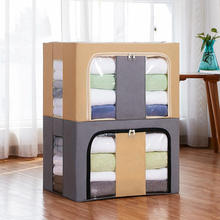 Hot Selling Home Clothes Foldable Storage Box Cube Storage Bin with Handles PVC window, Fabric Collapsible Storage Box