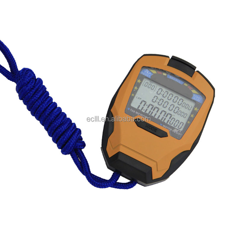 Water resist LCD digital stopwatch 3 rows 0.001 seconds stopwatches with waterproof function
