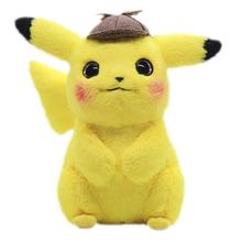 2020 hot sale lovely cartoon character detective Pokemon yellow soft stuffed soft plush pikachu toy with hat